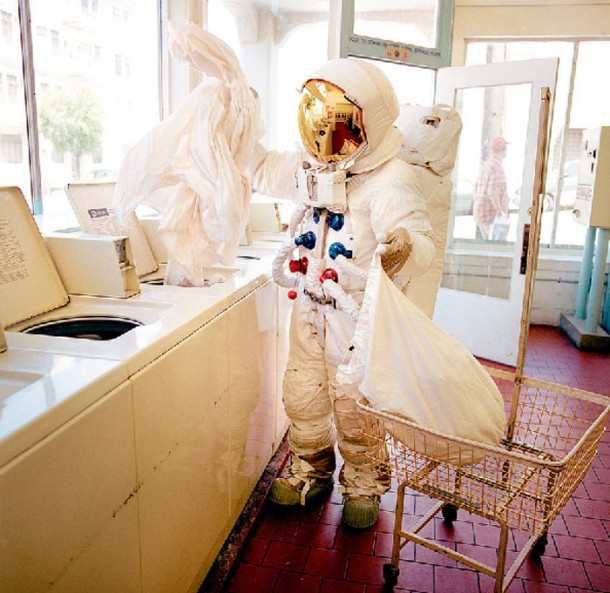 Astronaut in a laundromat