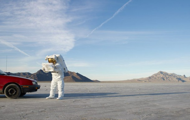 Astronaut buying snacks