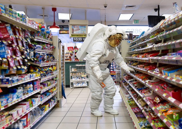 Astronaut buying snacks