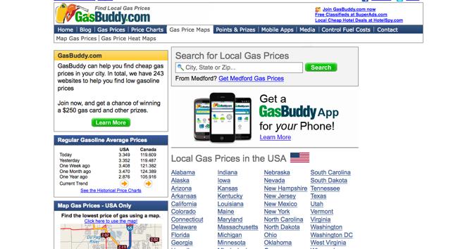 GasBuddy website