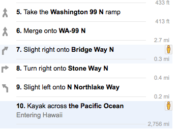 Google kayak directions