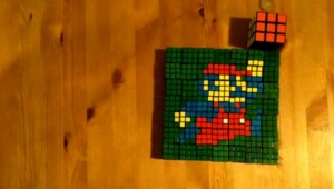 Mario made out of Rubik's Cubes