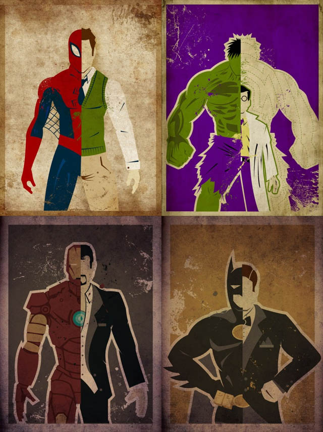 Superhero Split Personalities Art