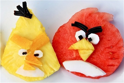 angry birds fruit slices
