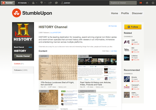 StumbleUpon Channel