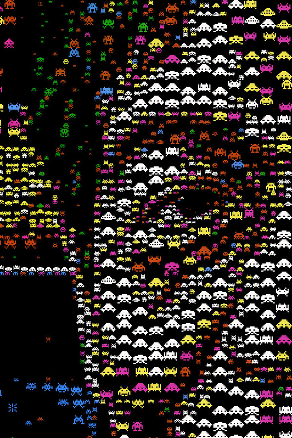 """Detail of """"Space Invaders"""" mosaic"""