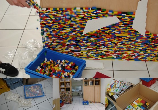 lego wall divider finished
