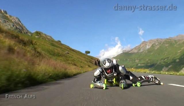 Jean Yves-Blondeau, aka Rollerman, on the Swiss Alps