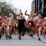 santa claus swim suit race