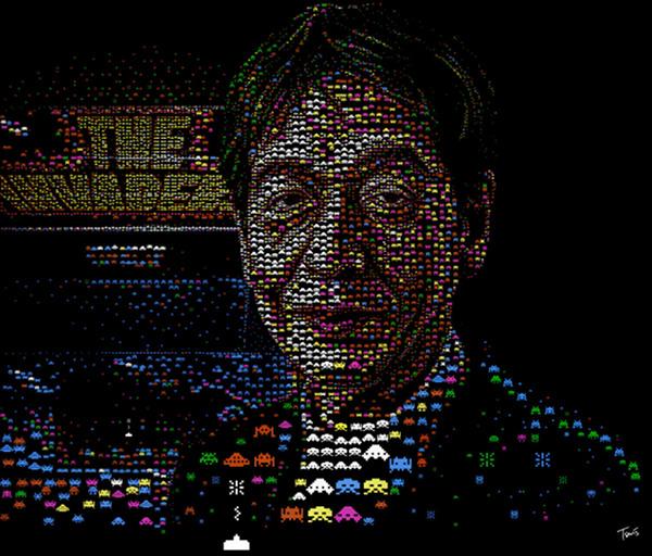 "A mosaic of ""Space Invaders"" creator Tomohiro Nishikado"