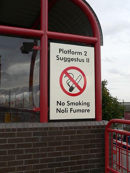 Wallsend Metro Station sign with Latin writing