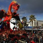 A red dragon and Chinese masks