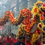 ceremonial  chinese dragon dance