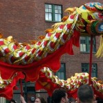 gold and red chinese dragon