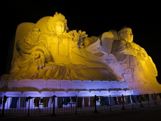 Ice sculpture of Buddha