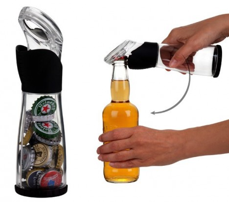 Bottle opener that collects caps