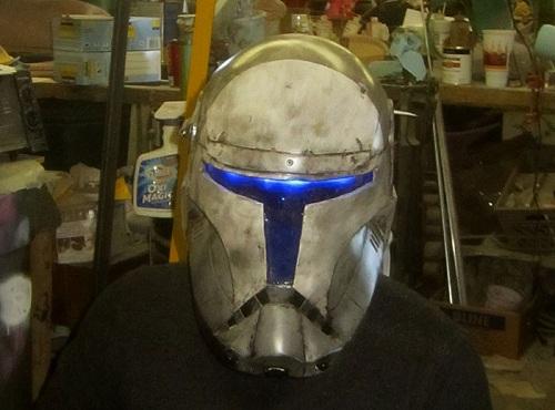 star wars helmet on head