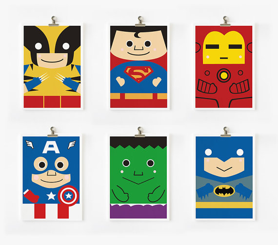 super heroes arts prints