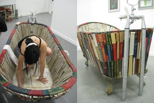 Bathtub made out of books