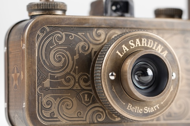Close-up of steampunk camera