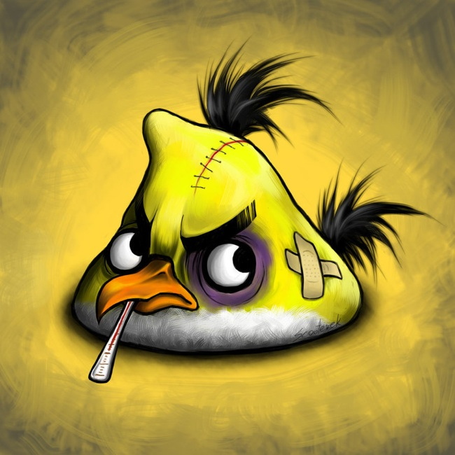 Injured yellow angry bird
