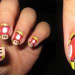 1UP Mushroom Super Mario Nail art