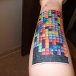 Tetris Leg Tattoo