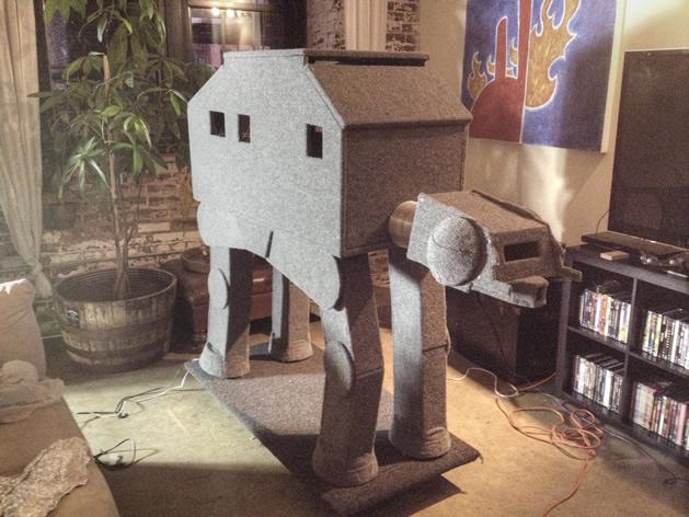 Cat inside AT-AT cat condo