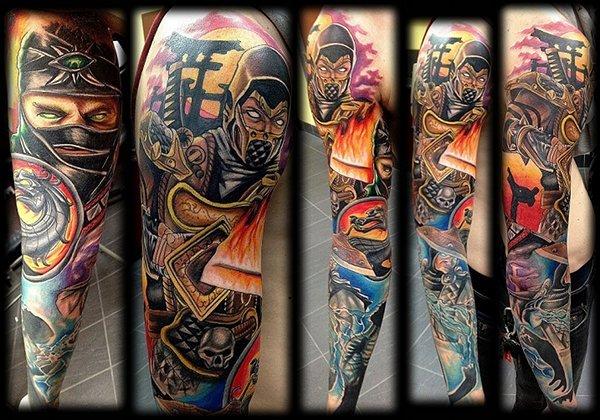 Get Over Here Kickass Mortal Kombat Sleeve Tattoo
