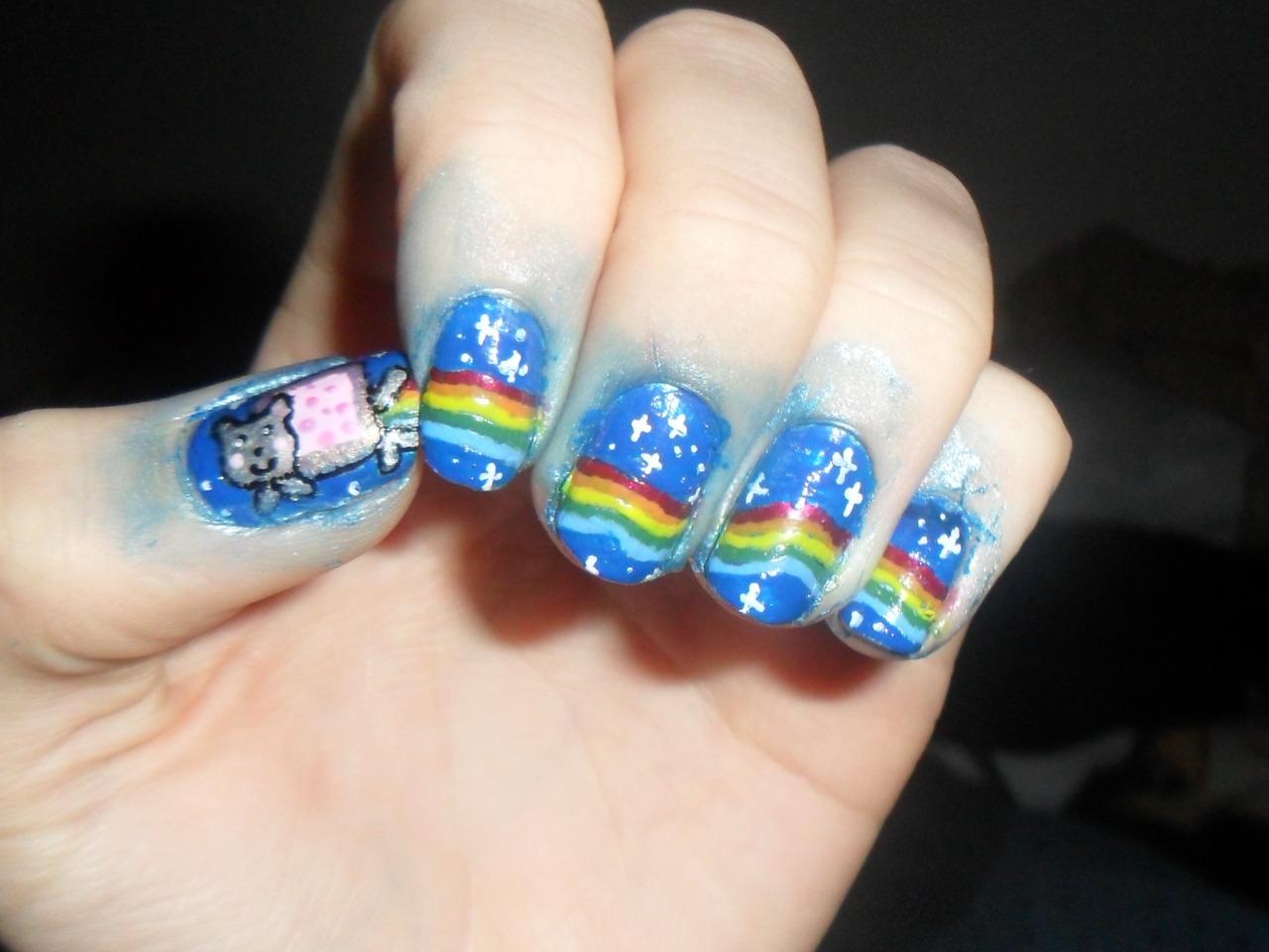 nyan cat nail art 2 | Walyou