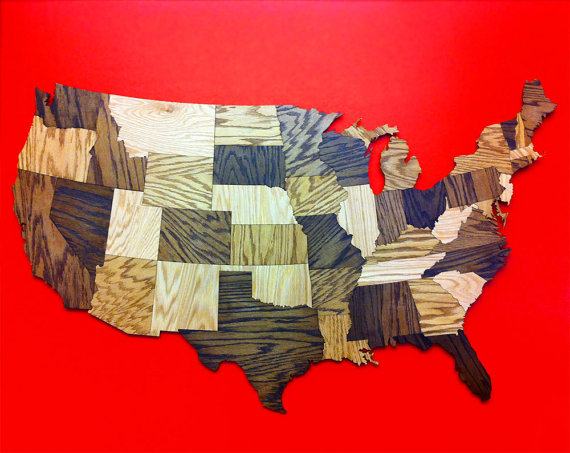 Wood Usa Wall Map Wooden USA Map Wall Decoration Sculpture