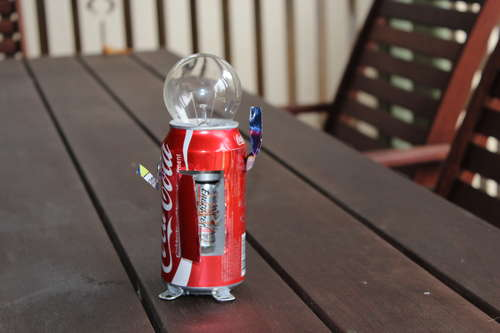 Robot made out of Coke cans