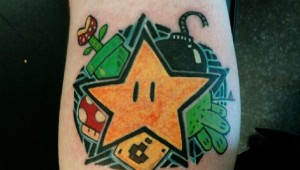 mario bros star tattoo