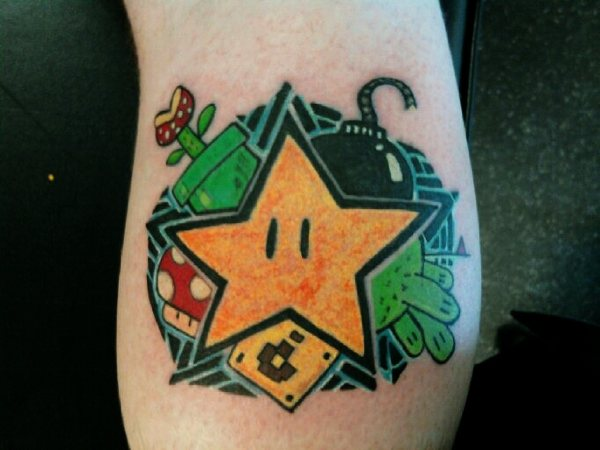 mario bros star tattoo
