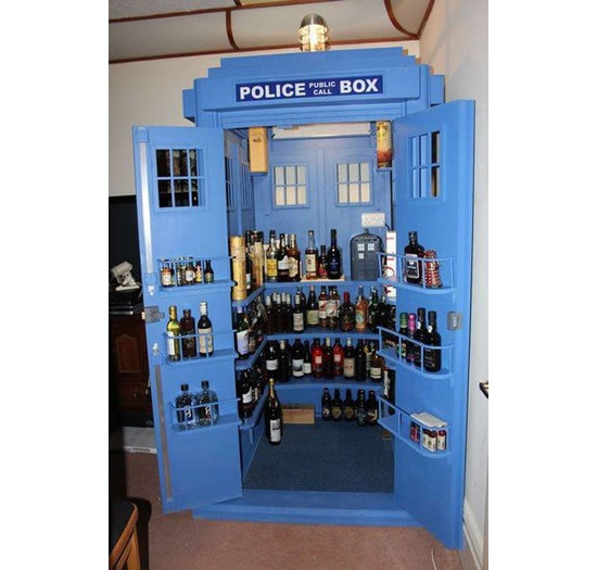 Keep Your Booze in a TARDIS-Inspired Liquor Cabinet