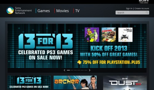 PlayStation Network Web Store front page image