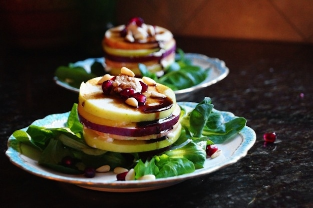 Greens Dressed with Apples and Pine Nuts