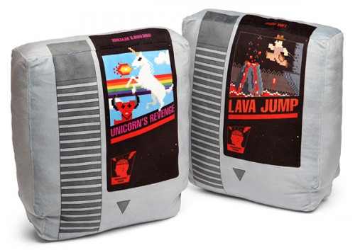 Retro video game cartridge pillow set from ThinkGeek image 1