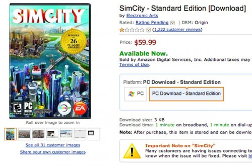 SimCity one star on Amazon image