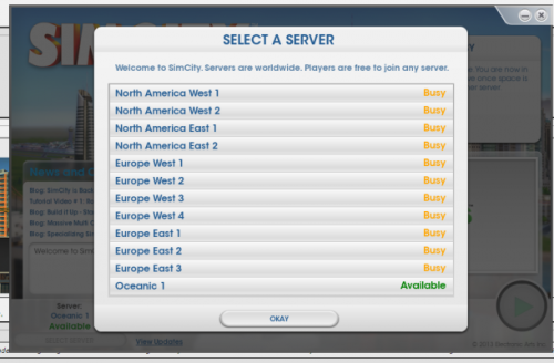 select a server EA SimCity image