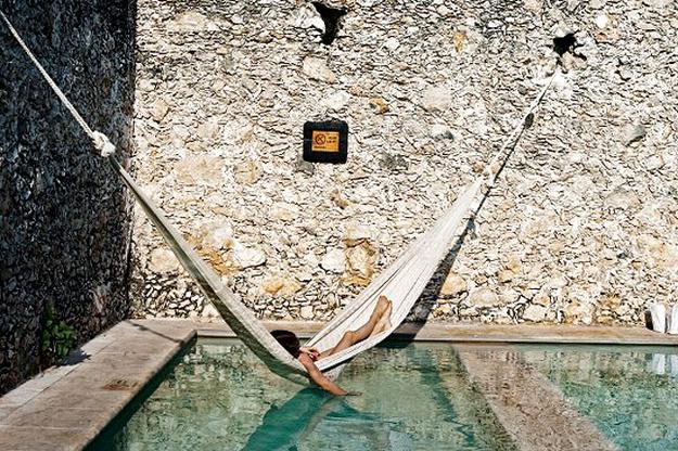 In the pool hammock