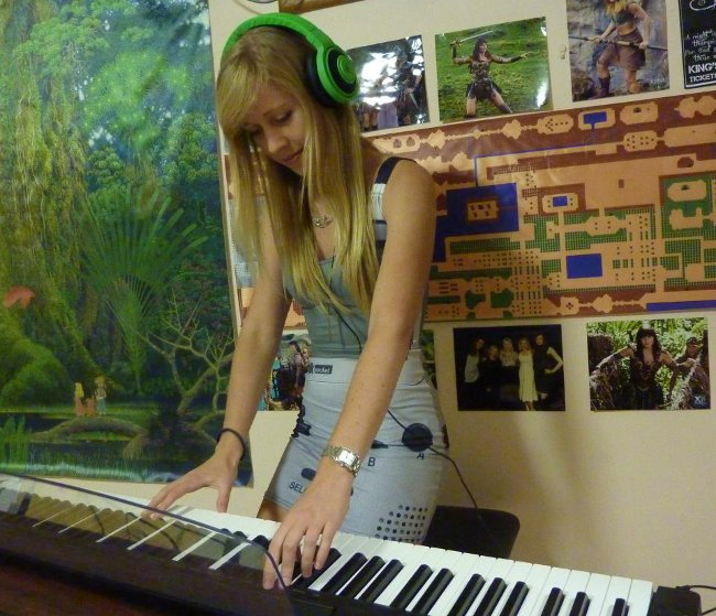 Lara playing piano