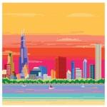 8-bit Chicago Skyline Pixel Art Print by Miles Donovan image
