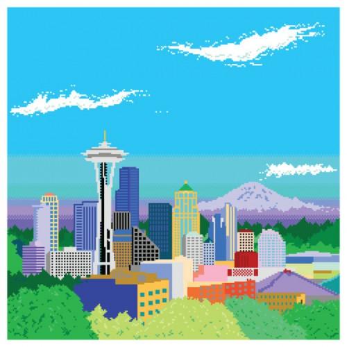 8-bit Seattle Skyline Pixel Art Print by Miles Donovan image