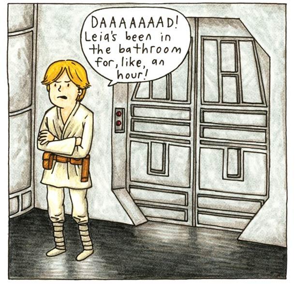 Leia hogging the bathroom