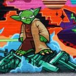 Cartoonish Yoda Graffiti
