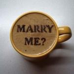 Coffee foam marriage proposal