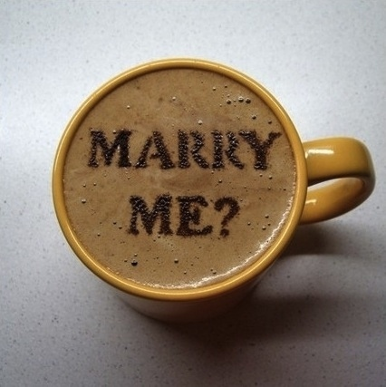 Coffee foam marriage proposal