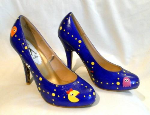 Custom Hand Painted Ms. Pac-Man High Heels image 1