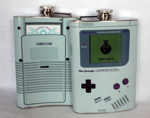 Gameboy gamebooze flask